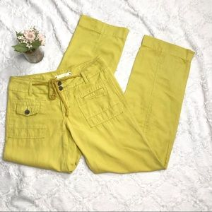Anthro heihei linen mix mustard yellow pants